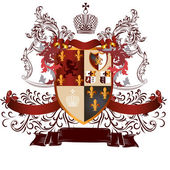 Classic heraldic design with coat of arms and shield in vintage — Vetorial Stock