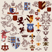 Collection of vector heraldic elements for design — Stok Vektör
