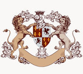 Heraldic design element with hand drawn lions and shield — ストックベクタ