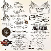 Vector set of vintage calligraphic elements and page decorations — Stock Vector