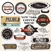 Vector set of retro grunge labels premium quality — Stock Vector