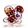 Greeting valentine card with heart and violets flowers — Imagen vectorial