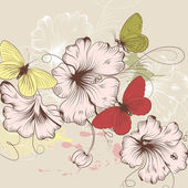 Hand drawn vector background with flowers and butterflies — Stock Vector