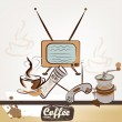 Fashion retro background with coffee — Stockvektor
