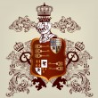 Heraldic design with coat of arms and shield in vintage style — Stock Vector