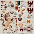 Vector set of hand drawn heraldic elements for design — Stock Vector
