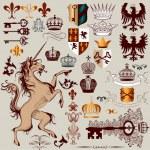Vector set of hand drawn heraldic elements for design — Stock Vector
