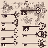 Collection of vector vintage keys for design — Stock Vector