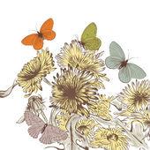 Handritad vektor bakgrund med maskros blommor och butterf — Stockvektor