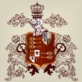 Heraldic design with coat of arms and shield in vintage style — Vector de stock