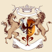 Heraldic design with coat of arms, lion and horse in vintage sty — Wektor stockowy