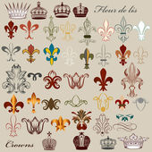 Collection of vector heraldic fleur de lis and crowns — Stok Vektör