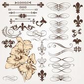 Vecteur série d'éléments vintage dessin calligraphique et déco de page — Vecteur