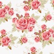 Stock Vector: Cute seamless wallpaper design with rose flowers