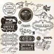 Vector set of decorative elements and labels in retro style — ベクター素材ストック