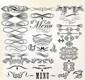 Kolekce kaligrafických prvky vektoru retro design a pag — Stock vektor