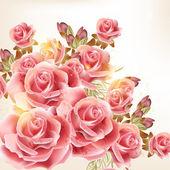 Fond belle vector dans un style vintage avec fleurs roses — Vecteur
