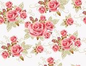 Gül çiçek ile şirin sorunsuz duvar kağıdı tasarım — Stok Vektör