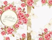 Conception de carte de voeux de mariage avec des roses — Vecteur