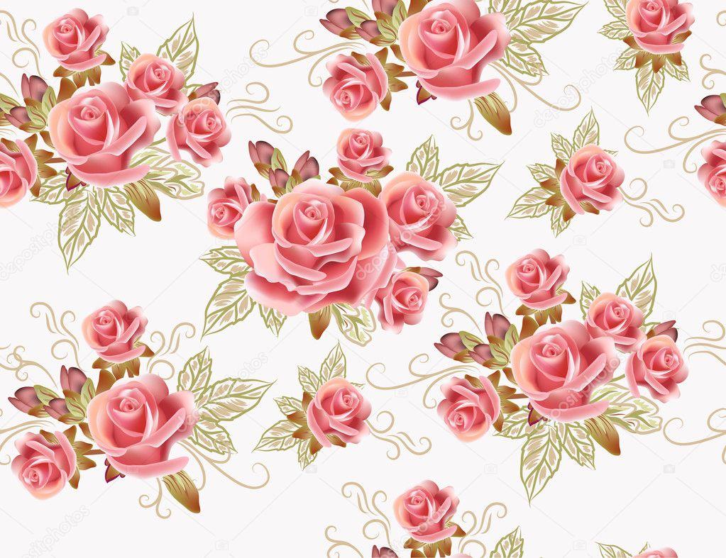H bsch nahtlose tapete design mit rosa blumen for Tapete rosen