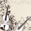 Stockvektor : Music vector background with violin and notes