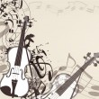 Music vector background with violin and notes — Image vectorielle