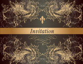 Beautiful invitation card in vintage classic style — Stock Vector