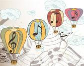 音乐矢量背景与气球 — 图库矢量图片