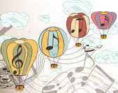 Music vector background with air balloons — Vector de stock
