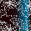 Vector de stock : Elegant invitation card with ornament in deep blue