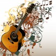 Stock Vector: Grunge music vector background with guitar and notes
