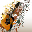 Grunge music vector background with guitar and notes — Stock Vector