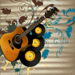 Grunge music vector background with guitar and notes on wooden — Stock Vector