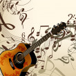 图库矢量图片: Music vector background with guitar and notes