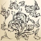 ビンテージ ベクトルのコレクション デザインまんじ — ストックベクタ