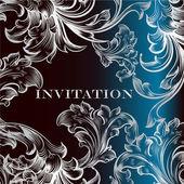 Elegantní pozvánka s ornamenty na temně modré — Stock vektor