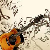 Hudební vektorové pozadí s kytarou a poznámky — Stock vektor