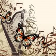 Vector background with harp, notes and butterflies — Stock Vector