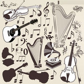 Vector set of detailed musical instruments for design — Stock Vector