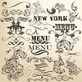 Vector set of retro calligraphic decorative elements — Stock Vector