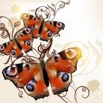 Beautiful vector background with butterflies — Stock Vector #29719731