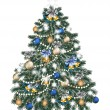 Christmas tree decorated by balls on white — Vector de stock #29728225