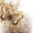 Cute stylish floral background with butterfly — Image vectorielle