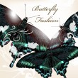 Fashion background with butterflies — Image vectorielle