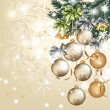 Christmas vintage vector greeting card with baubles — Vettoriali Stock