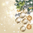 Christmas vintage vector greeting card with baubles — Vector de stock