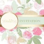 Cute wedding floral invitation for design — Stock Vector #30093067