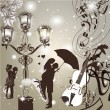 Vector de stock : Wedding elegant background with cute couple street light and vi