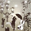 图库矢量图片: Wedding elegant background with cute couple street light and vi