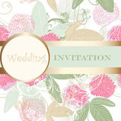 かわいいデザインのための花の招待結婚式 — ストックベクタ